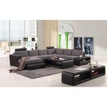 Divani Casa Modern Black & Grey Fabric & Leather Sectional Sofa