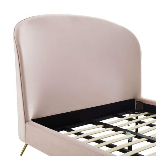 Vivi Blush Velvet Bed in King