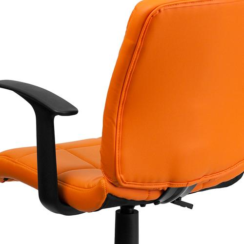 Gallery - Mid-Back Orange Quilted Vinyl Swivel Task Office Chair with Arms