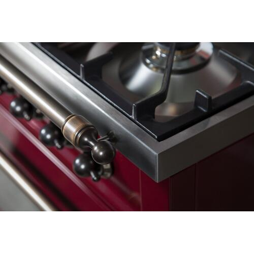 Nostalgie 60 Inch Dual Fuel Natural Gas Freestanding Range in Burgundy with Bronze Trim