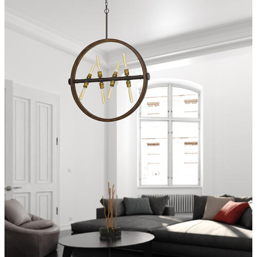 60W X 8 Teramo Wood/Metal Chandelier With Glass Shade (Edison Bulbs Not included)