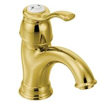 Kingsley polished brass one-handle bathroom faucet