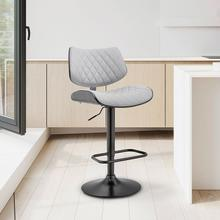 View Product - Leland Adjustable Grey Faux Leather and Black Finish Bar Stool