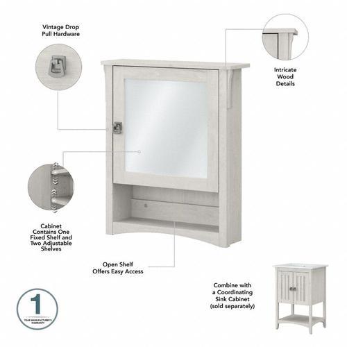 Salinas Bathroom Farmhouse Bathroom Storage Set with Cabinets, Mirror, Hamper and Shelf - Linen White Oak