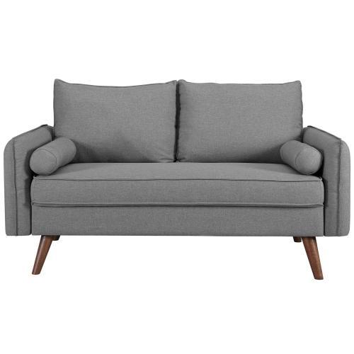 Revive Upholstered Fabric Loveseat in Light Gray