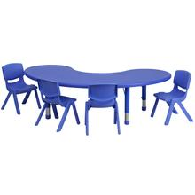 Product Image - 35''W x 65''L Half-Moon Blue Plastic Height Adjustable Activity Table Set with 4 Chairs
