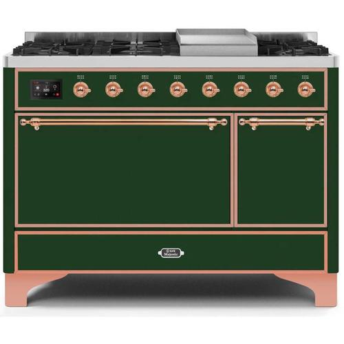 Ilve - Majestic II 48 Inch Dual Fuel Natural Gas Freestanding Range in Emerald Green with Copper Trim