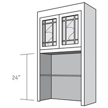 View Product - Desk Top Unit, 2 Glass Doors with Double Mullions, Open Shelves, and 2 adjustable shelves