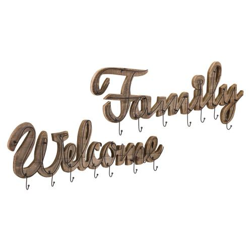 Gallery - Welcome and Family Wall Hooks - Set of 2