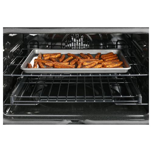 """Cafe - Café™ 30"""" Smart Slide-In, Front-Control, Dual-Fuel, Double-Oven Range with Convection in Platinum Glass"""