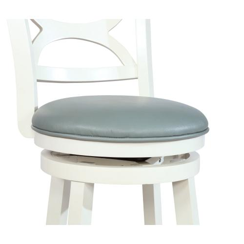 Upholstered Seat and Round Footrest Barstool, Cream
