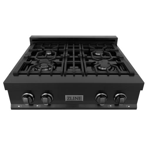 """Zline Kitchen and Bath - ZLINE 30"""" Porcelain Gas Stovetop in Black Stainless Steel with 4 Gas Burners (RTB-30) [Color: Black Stainless]"""