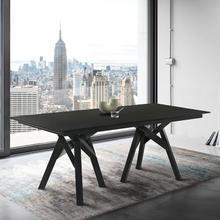 "Cortina 79"" Mid-Century Modern Black Wood Dining Table with Black Legs"