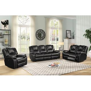 See Details - 8087 BLACK 2 PC Power Recliner Air Leather Living Room SET