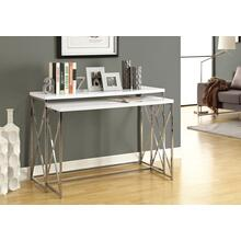 """See Details - ACCENT TABLE - 46""""L /2PCS SET/ GLOSSY WHITE/ CHROME METAL"""