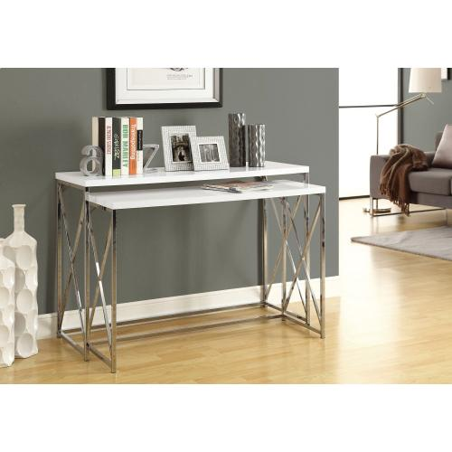 """Gallery - ACCENT TABLE - 46""""L /2PCS SET/ GLOSSY WHITE/ CHROME METAL"""
