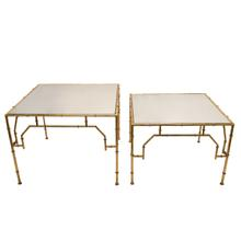 Product Image - S/2 Square Gold Accent Tables, Mirror