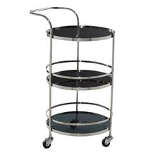 "S/STEEL GLS BAR CART 17""W, 33""H"