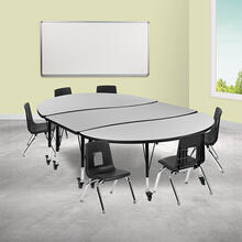 """Mobile 86"""" Oval Wave Collaborative Laminate Activity Table Set with 12"""" Student Stack Chairs, Grey\/Black"""