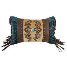 See Details - Loretta Scroll Velvet Decorative Pillow - Teal, Chocolate & Gold