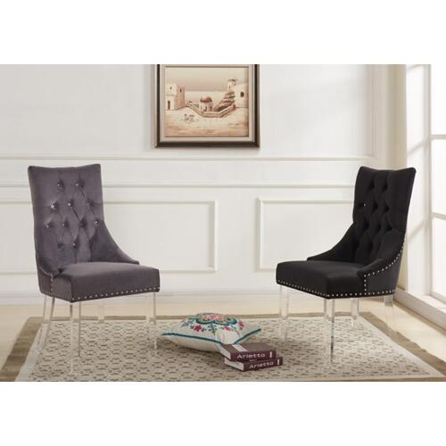 Armen Living Gobi Modern and Contemporary Tufted Dining Chair in Gray Velvet with Acrylic Legs