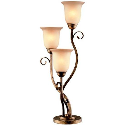 3 Lites Table Lamp - Aged Bronze/glass Shade, E27 Cfl 13wx3