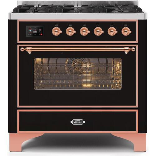 Product Image - Majestic II 36 Inch Dual Fuel Natural Gas Freestanding Range in Glossy Black with Copper Trim