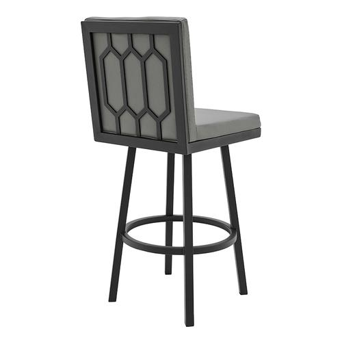 """Armen Living - Gem 26"""" Counter Height Swivel Barstool with Black Finish and Grey Faux Leather"""