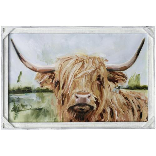 Style Craft - CUSTOM HIGHLAND GRAZER I  36in X 24in  Made in the USA  Textured Framed Print