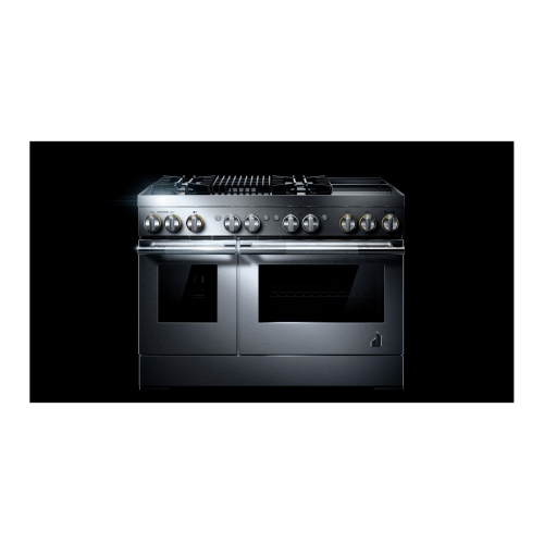 "RISE™ 48"" Dual-Fuel Professional Range with Chrome-Infused Griddle and Gas Grill"