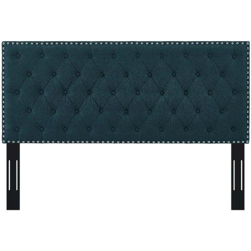 Helena Tufted Twin Upholstered Linen Fabric Headboard in Azure