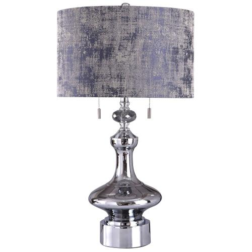 Zilar  30in Fashioned Clear Crystal Glass Base with Mirror Glass Chrome Body Table Lamp  60 Watts