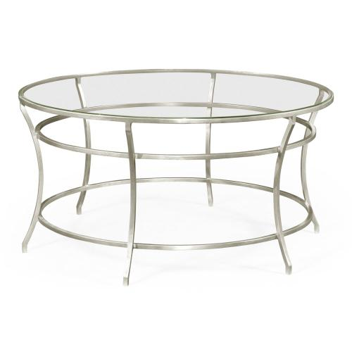 Silver Round Iron Coffee Table with A Clear Glass Top