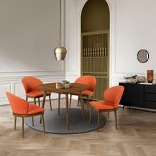 """See Details - Arcadia and Juno 42"""" Round Orange and Walnut Wood 5 Piece Dining Set"""