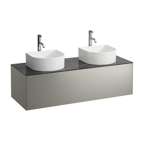 White Matte Drawer element, 1 drawer, matching bowl washbasins 812340, 812341, 812342, 812343, cut-outs left and right incl. drilled tap holes