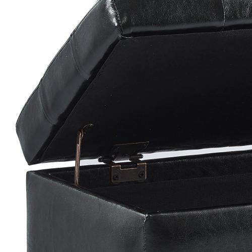 Winston Rectangular Storage Ottoman in Black
