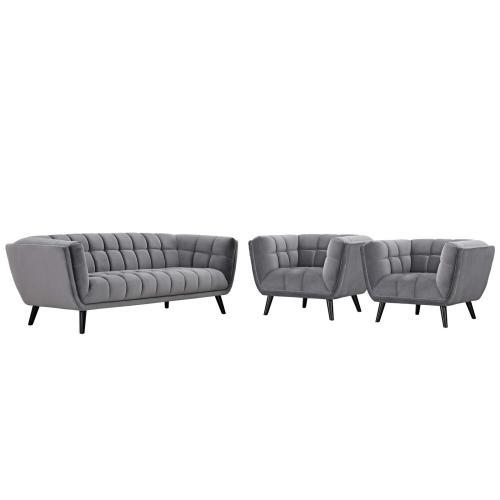 Bestow 3 Piece Performance Velvet Sofa and Armchair Set in Gray