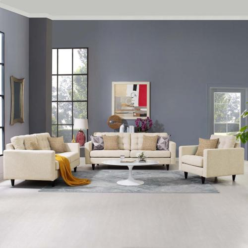 Modway - Empress Sofa, Loveseat and Armchair Set of 3 in Beige