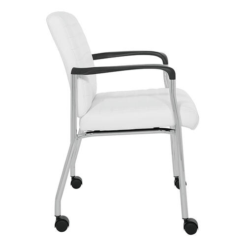 Guest Chair In White Faux Leather With Chrome Frame