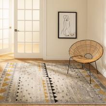 See Details - Step One - Geometric Triangles Area Rug, Beige and Yellow, 5' x 7'