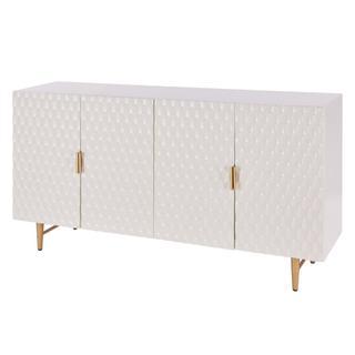 Reggie KD Geometric Sideboard 4 Doors Gold Legs, Glossy White