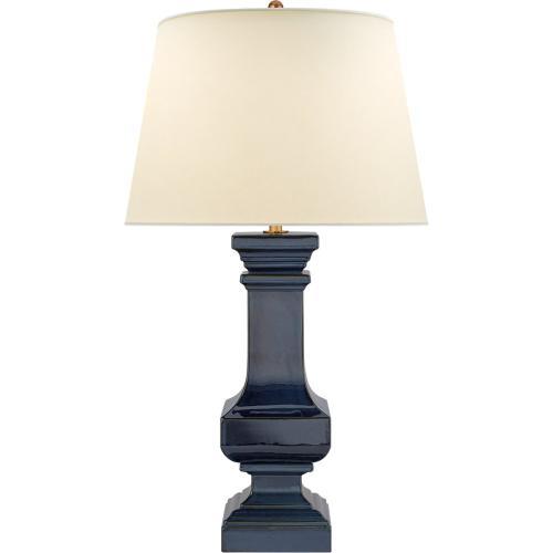 Visual Comfort CHA8657MBB-PL E. F. Chapman Square Balustrade 42 inch 100 watt Mixed Blue Brown Table Lamp Portable Light, Grande