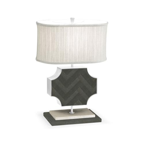 Curved Wide Cross Pewter Oak Table Lamp