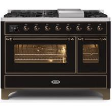 Majestic II 48 Inch Dual Fuel Liquid Propane Freestanding Range in Glossy Black with Bronze Trim