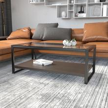 See Details - Rosedale Glass Coffee Table with Black Metal Frame