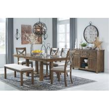 6 PIECE SET (EXTENSION TABLE, 4 SIDE CHAIRS AND BENCH)