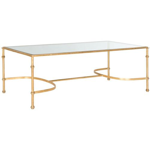 Lucille Coffee Table - Gold / Tempered Glass Top