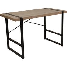 See Details - Hanover Park Rustic Wood Grain Finish Console Table with Black Metal Frame