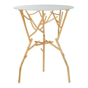 Tara Branched Glass Top Gold Accent Table - Gold / White