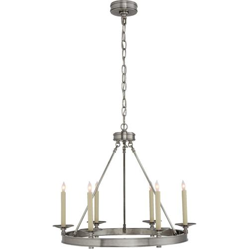 Visual Comfort CHC1600AN E. F. Chapman Launceton 6 Light 27 inch Antique Nickel Chandelier Ceiling Light, Small Ring